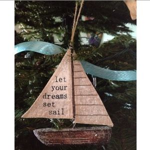 Hand Made Sailboat Christmas Ornament NWT